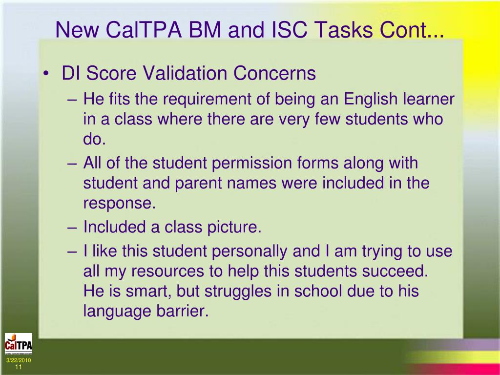 New CalTPA BM and ISC Tasks Cont...