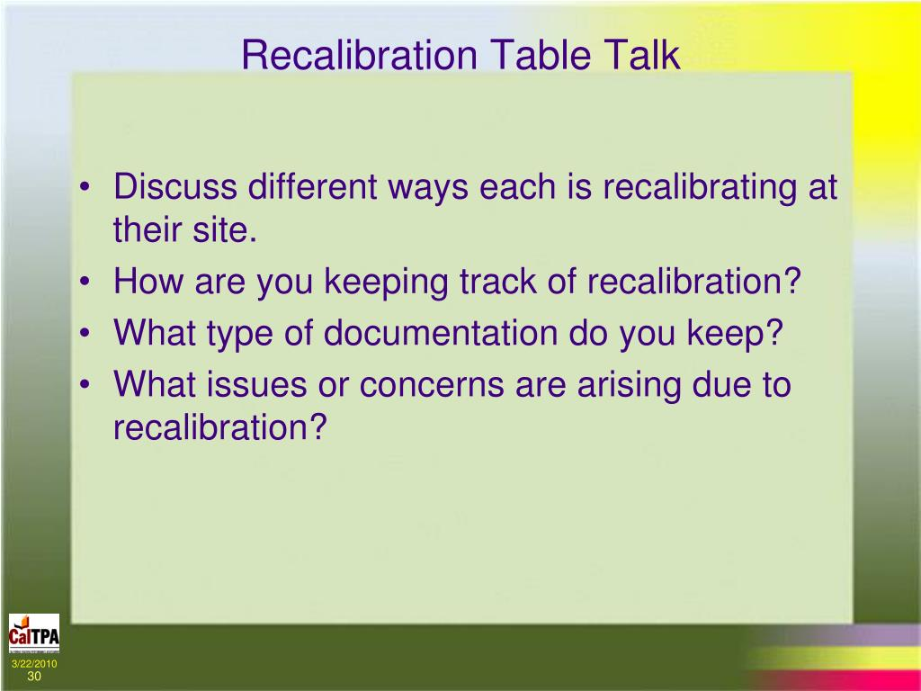 Recalibration Table Talk