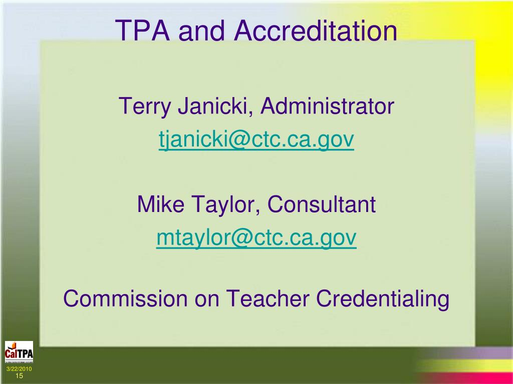 TPA and Accreditation