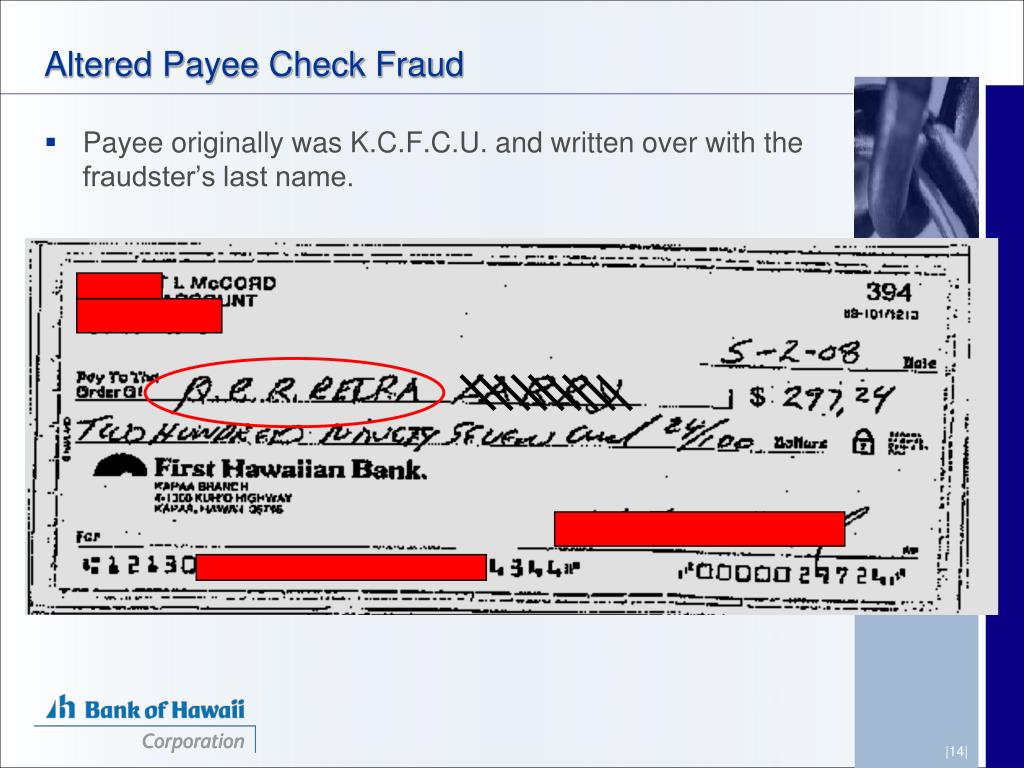 Altered Payee Check Fraud