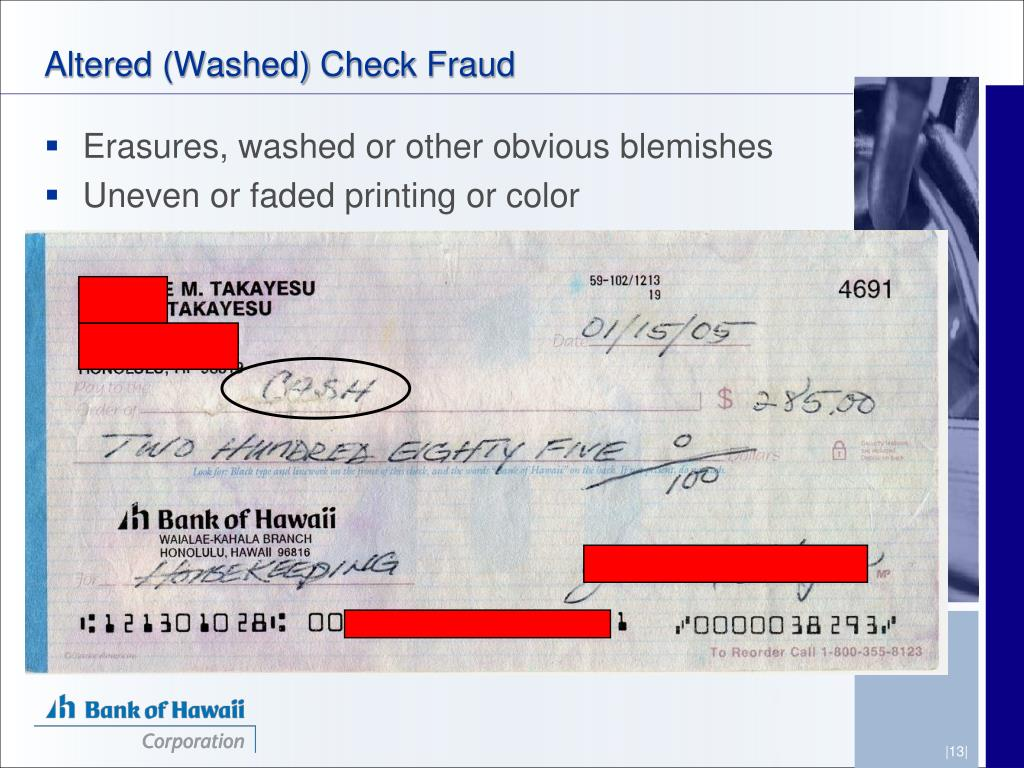Altered (Washed) Check Fraud
