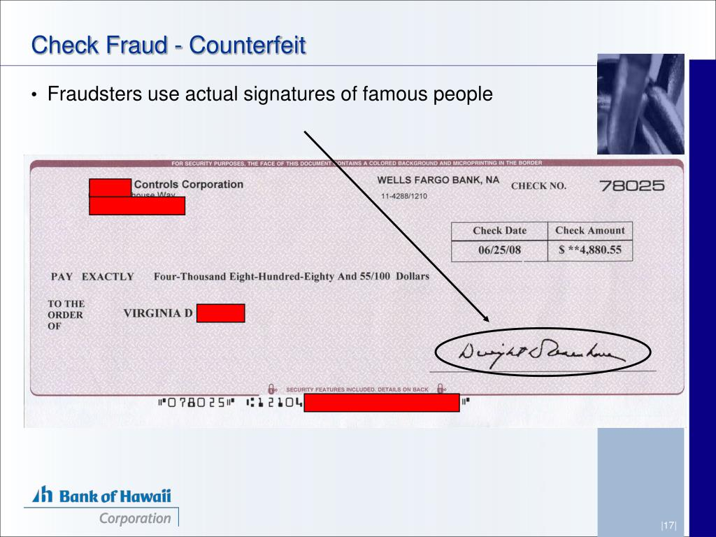 Check Fraud - Counterfeit