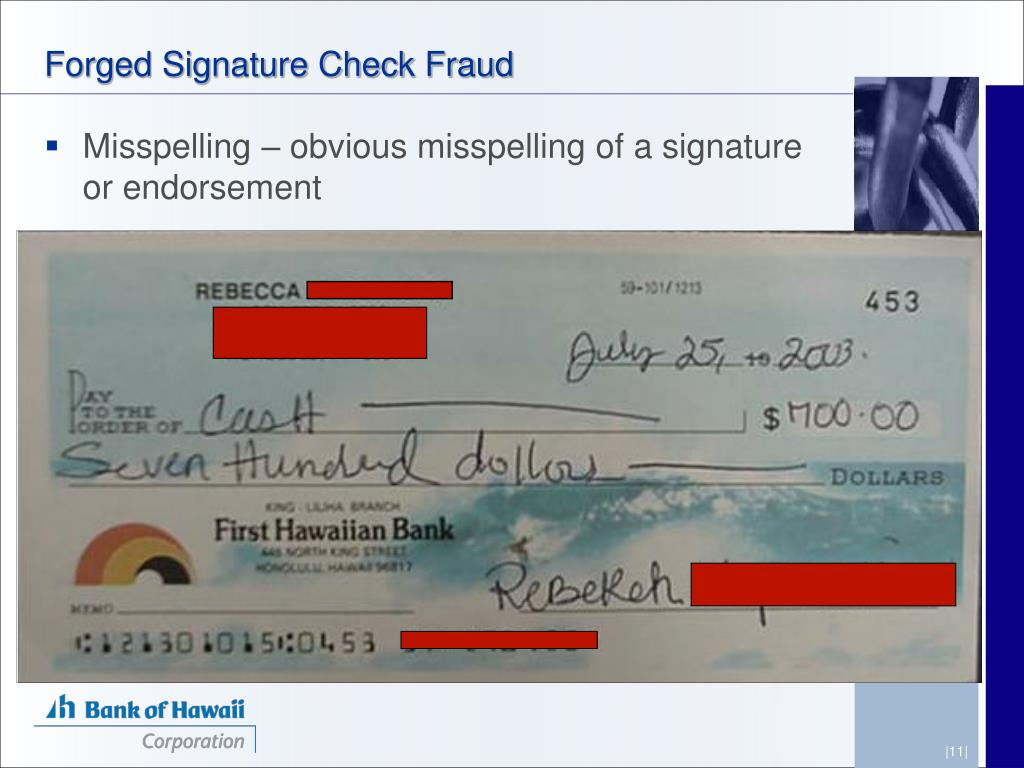 Forged Signature Check Fraud