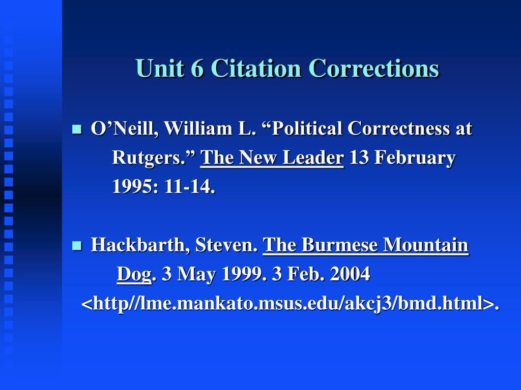 Unit 6 Citation Corrections