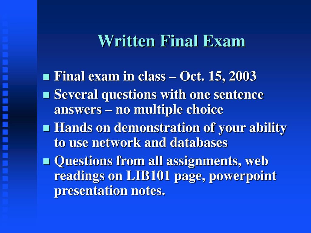 Written Final Exam