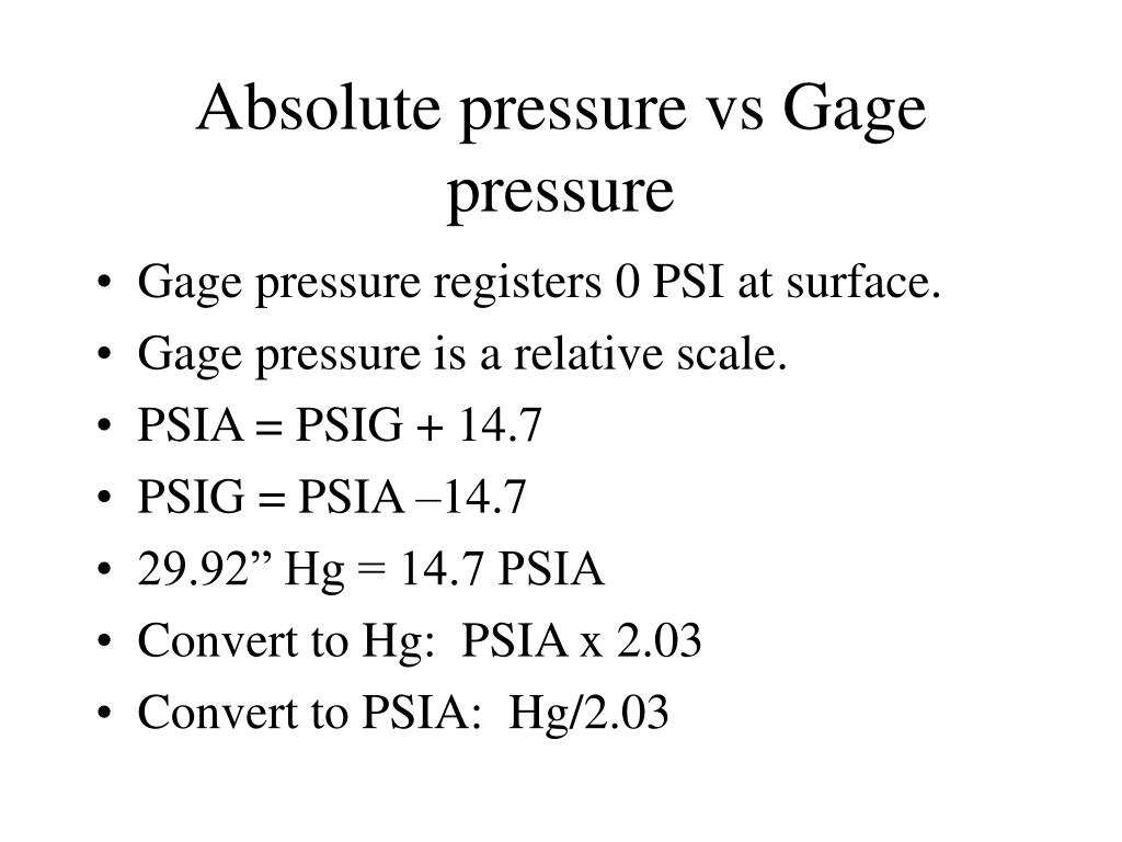 Absolute pressure vs Gage pressure
