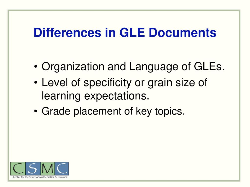 Differences in GLE Documents