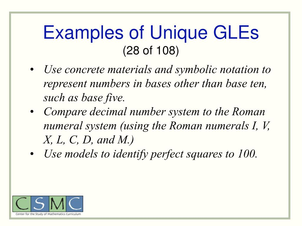 Examples of Unique GLEs