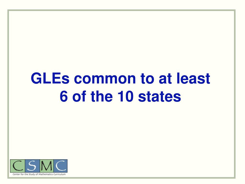 GLEs common to at least