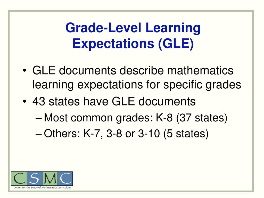 Grade-Level Learning Expectations (GLE)