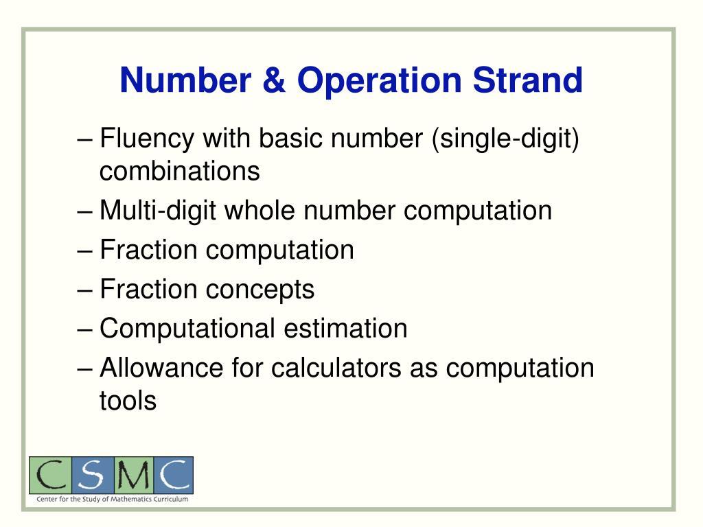 Number & Operation Strand