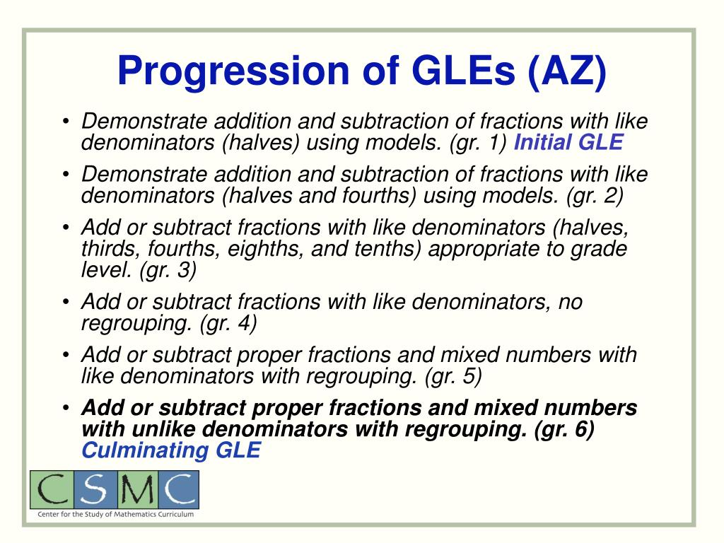 Progression of GLEs (AZ)
