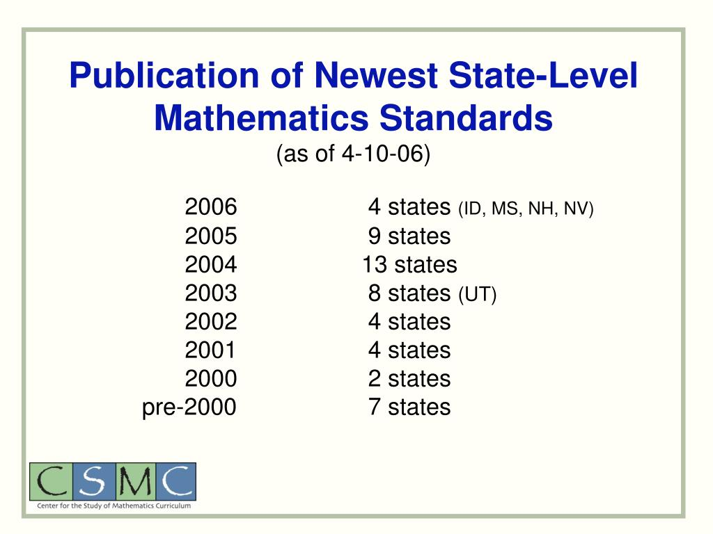 Publication of Newest State-Level Mathematics Standards