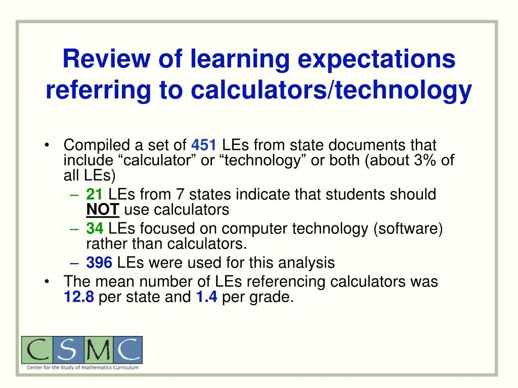 Review of learning expectations referring to calculators/technology
