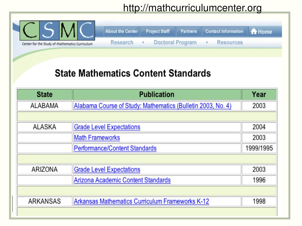 http://mathcurriculumcenter.org