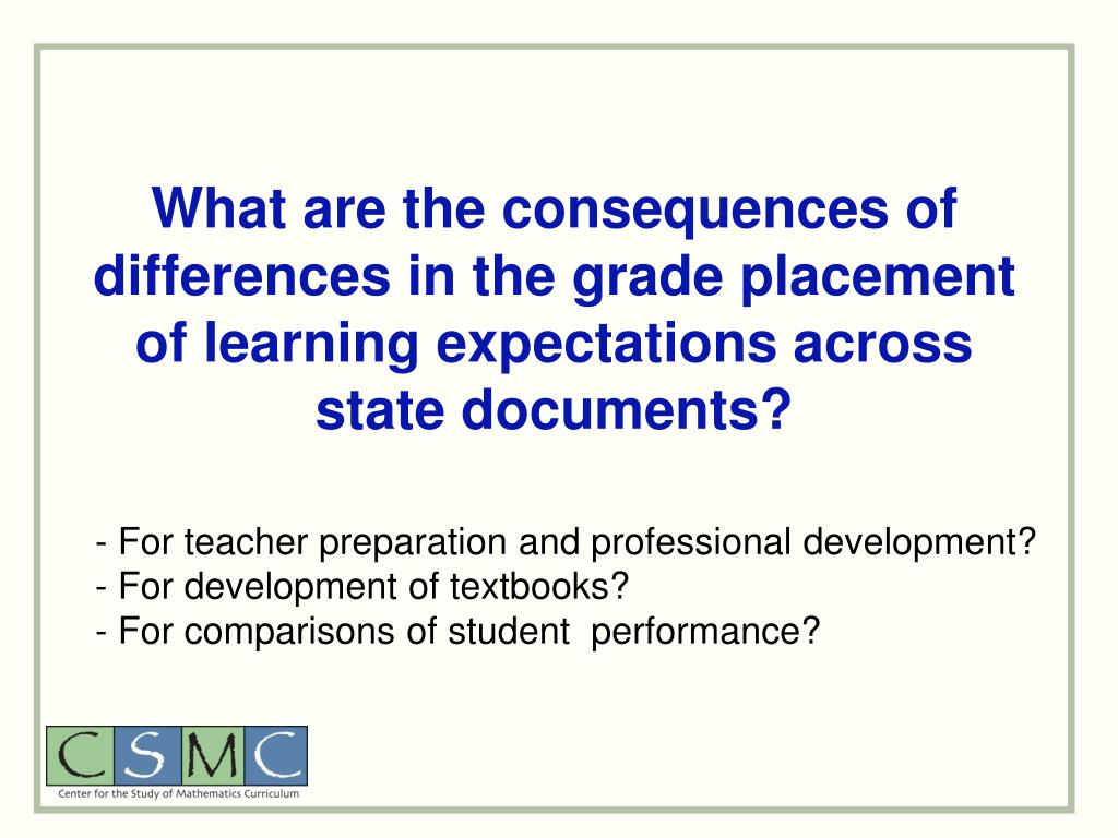 What are the consequences of differences in the grade placement of learning expectations across state documents?