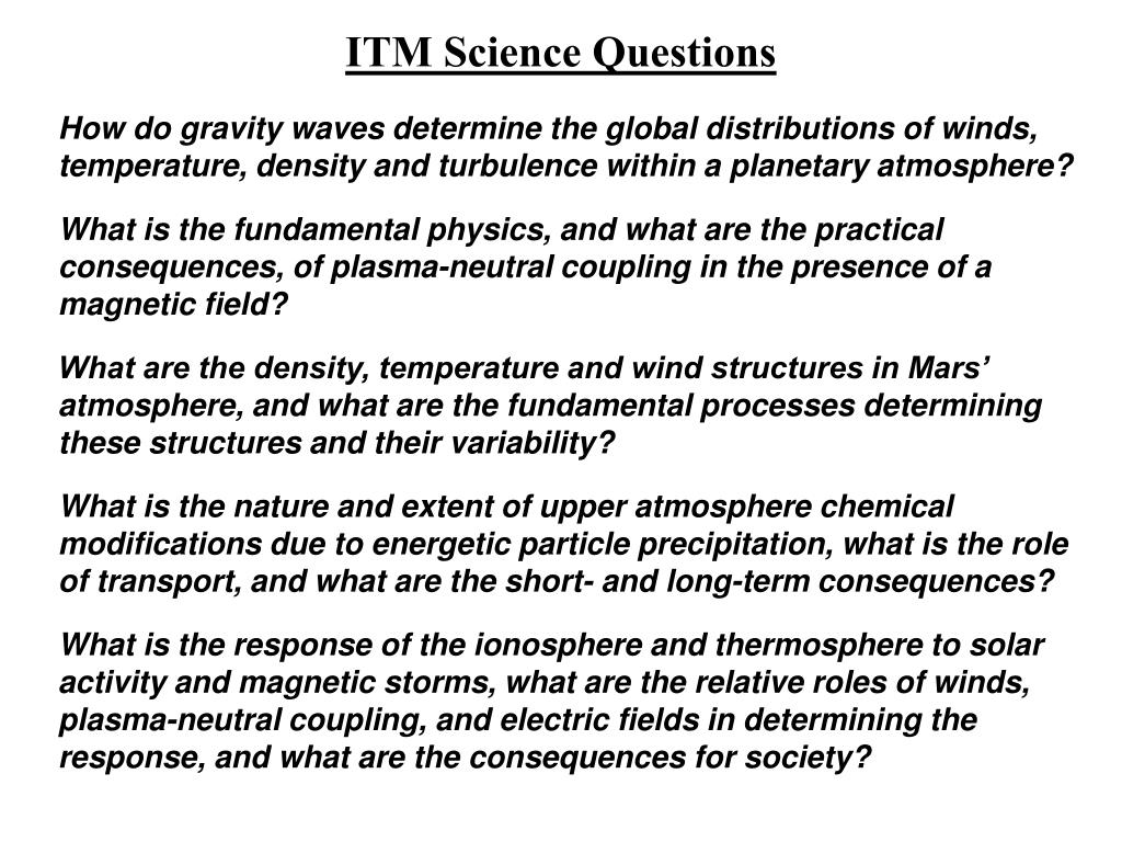 ITM Science Questions