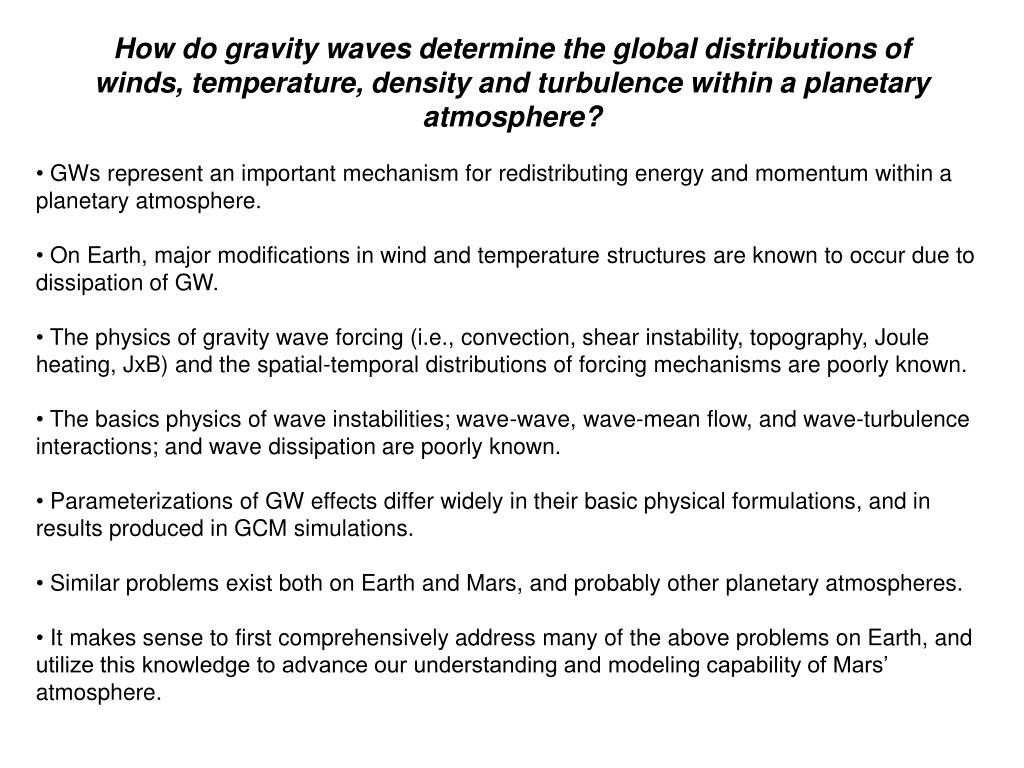 How do gravity waves determine the global distributions of winds, temperature, density and turbulence within a planetary atmosphere?