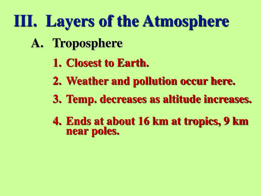 III.  Layers of the Atmosphere