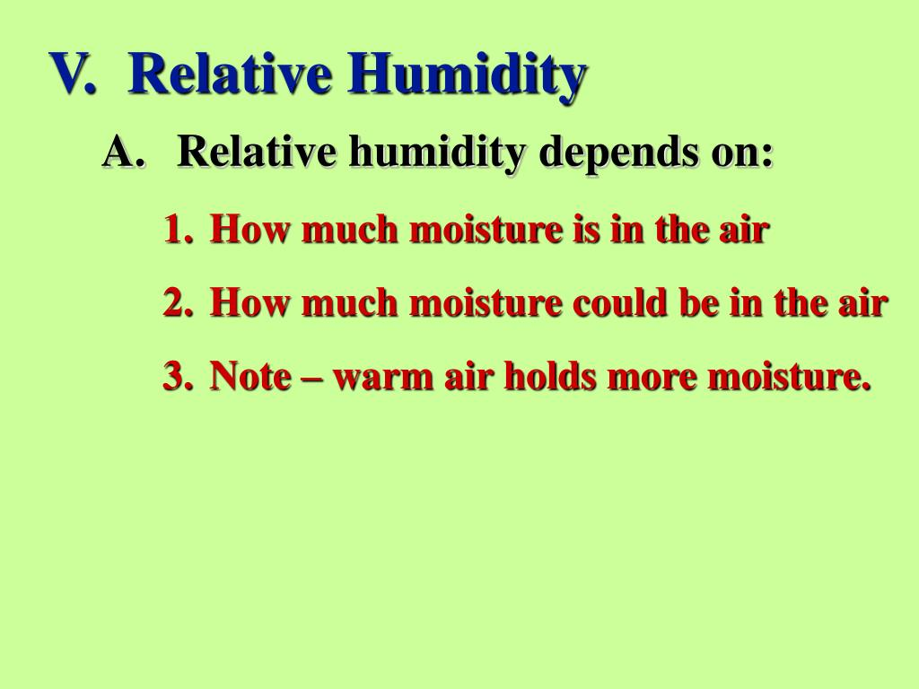 V.  Relative Humidity