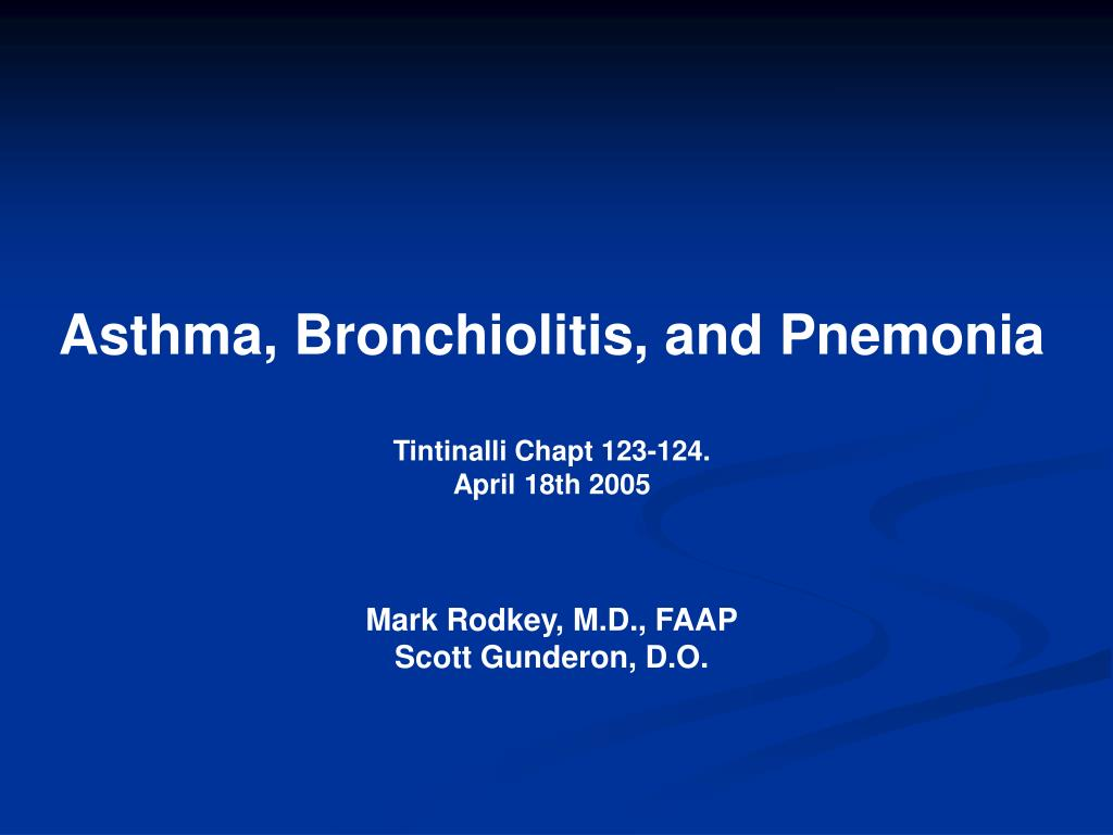 Asthma, Bronchiolitis, and Pnemonia