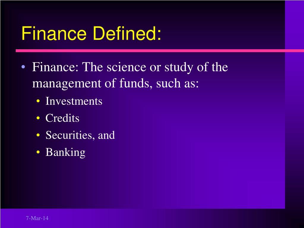 Finance Defined: