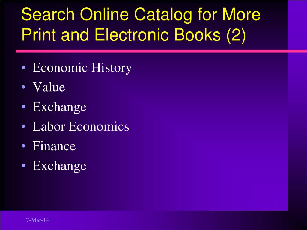 Search Online Catalog for More Print and Electronic Books (2)