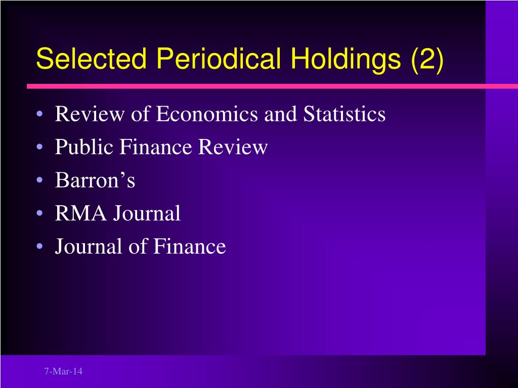 Selected Periodical Holdings (2)