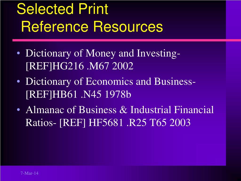 Selected Print
