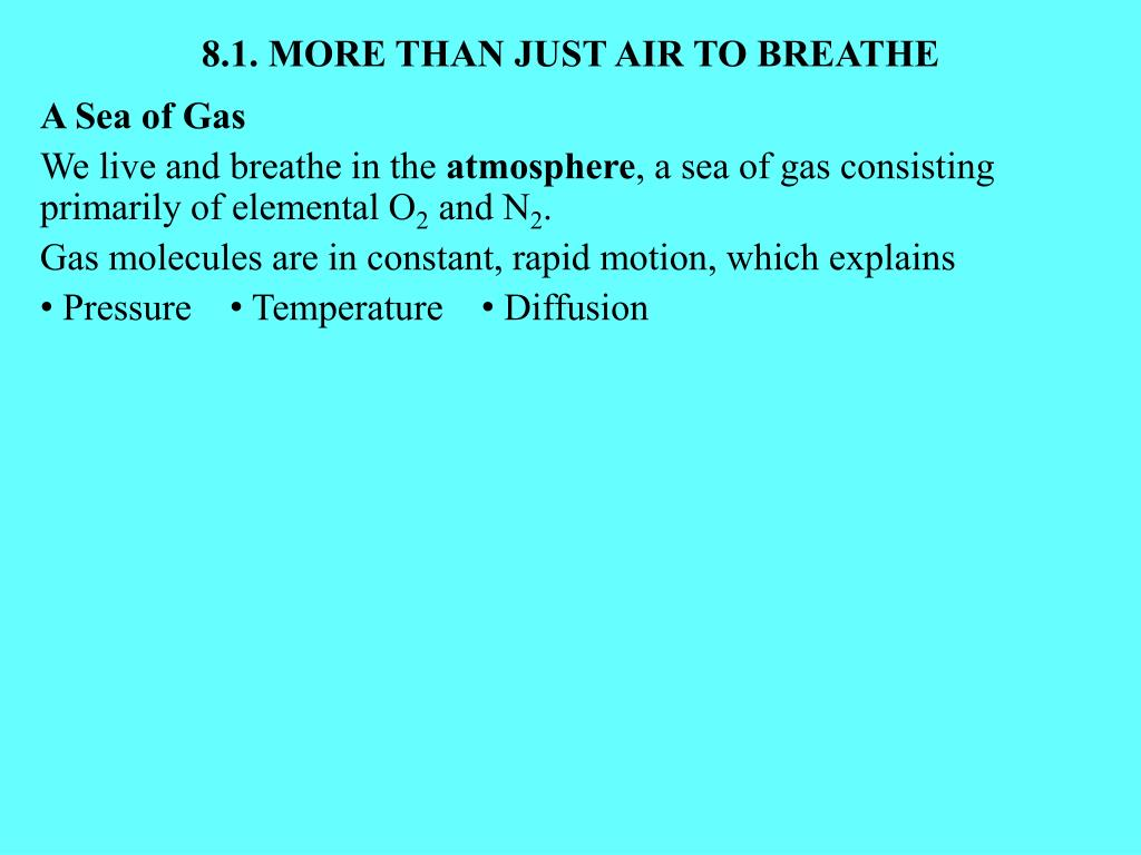 8.1. MORE THAN JUST AIR TO BREATHE