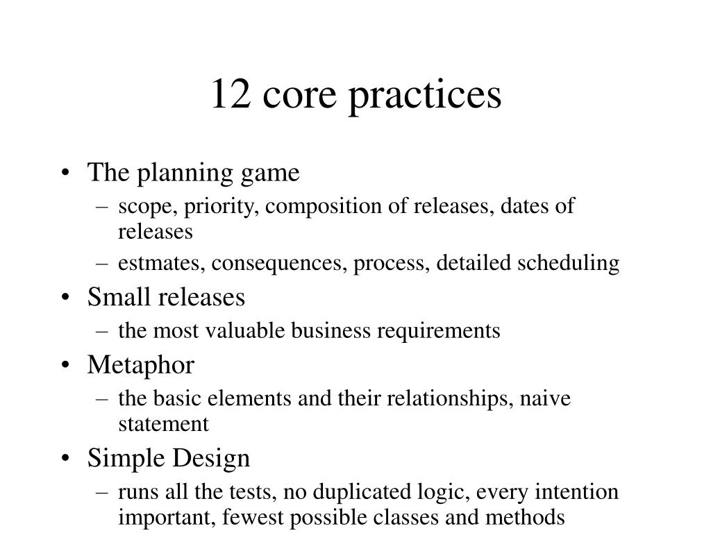 12 core practices