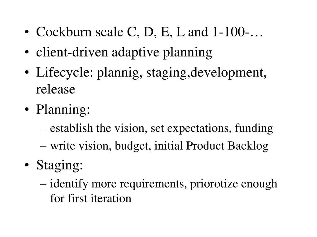 Cockburn scale C, D, E, L and 1-100-…