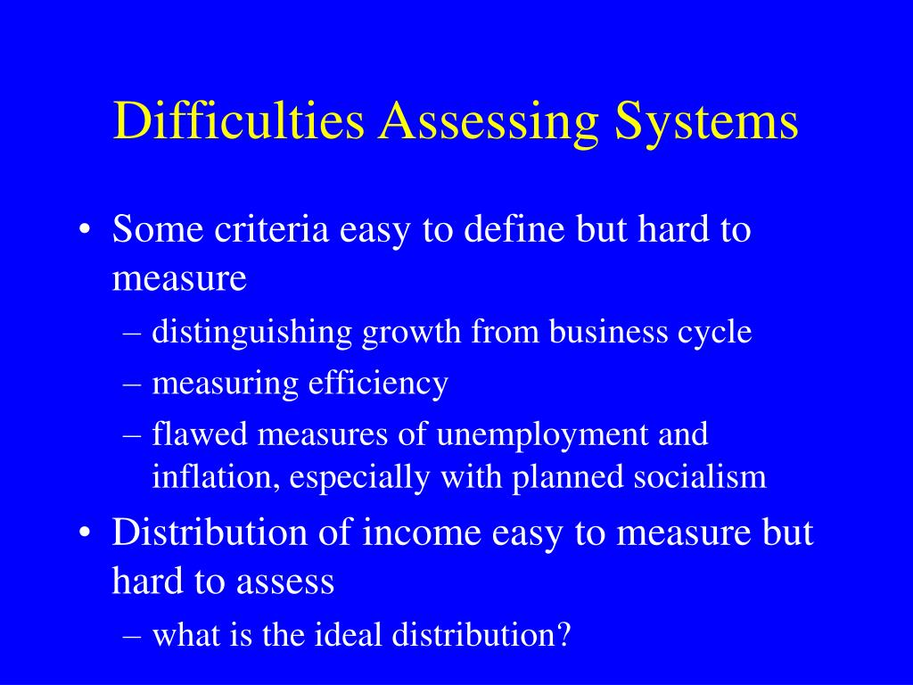 Difficulties Assessing Systems