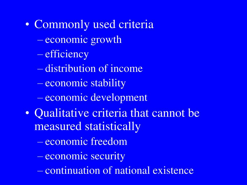 Commonly used criteria