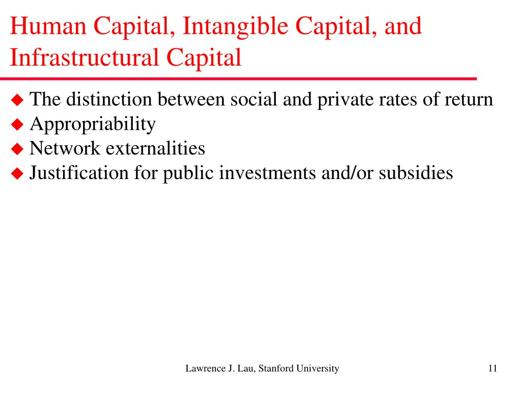 Human Capital, Intangible Capital, and Infrastructural Capital