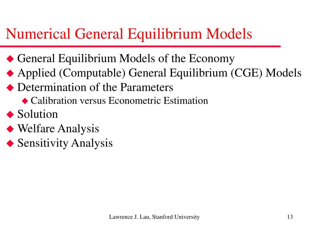 Numerical General Equilibrium Models