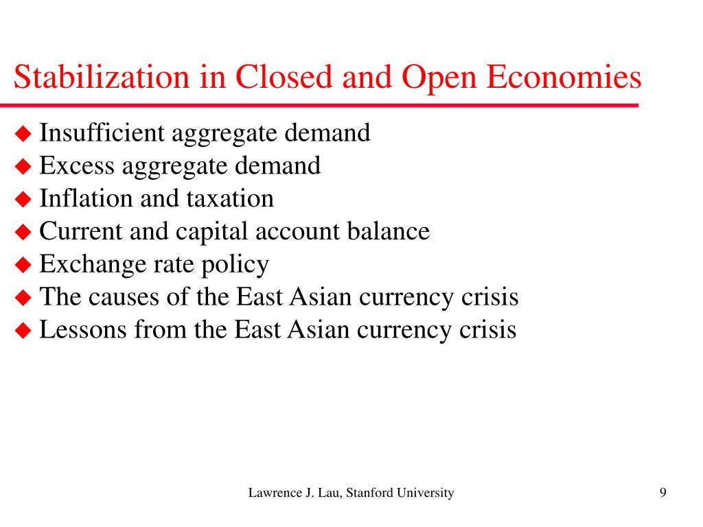 Stabilization in Closed and Open Economies
