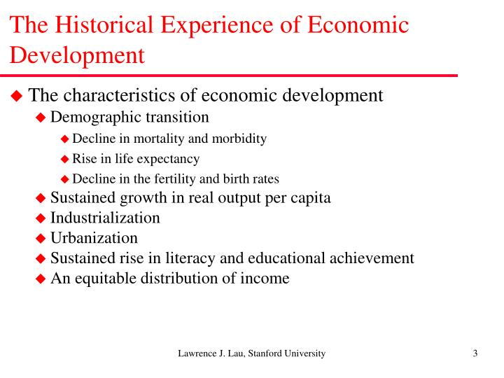 The historical experience of economic development