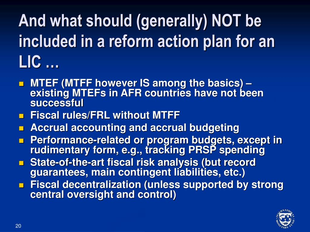 And what should (generally) NOT be included in a reform action plan for an LIC …