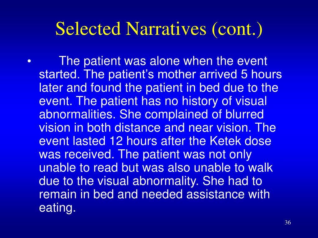 Selected Narratives (cont.)