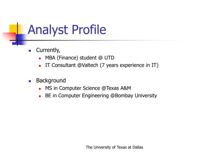 Analyst profile