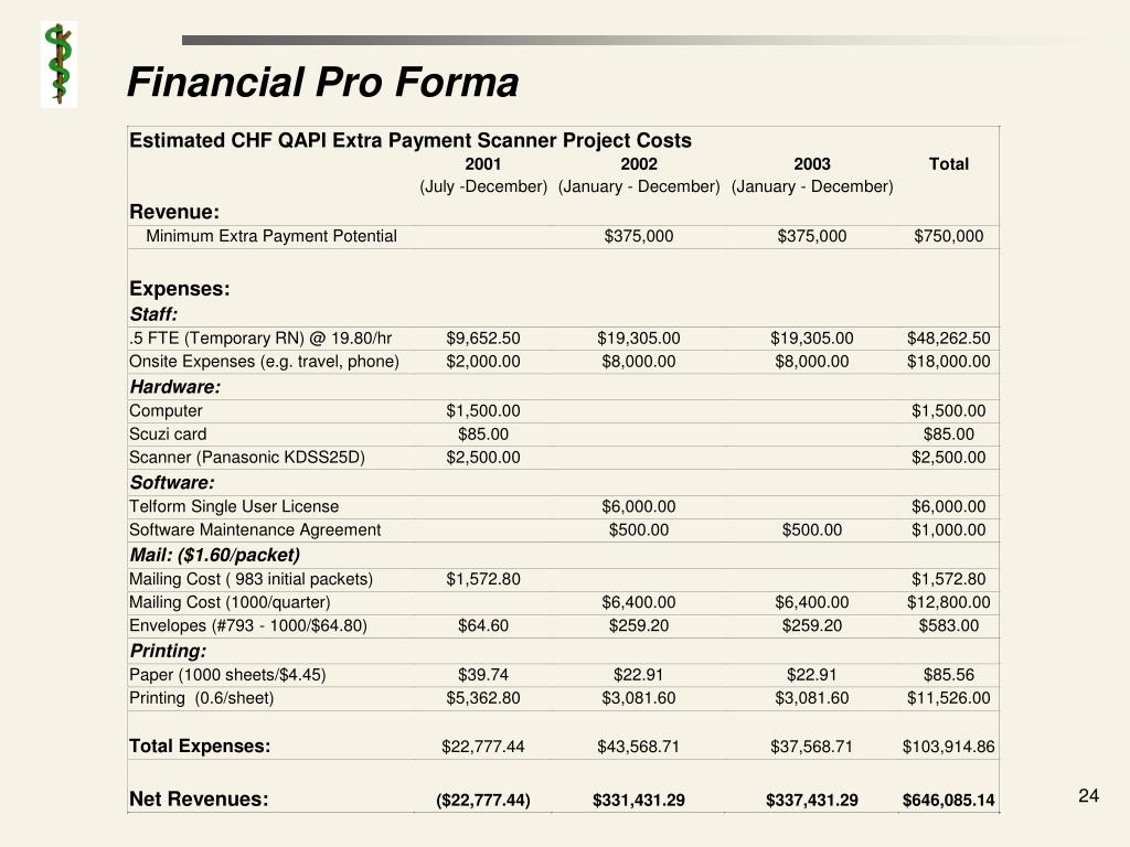 Financial Pro Forma