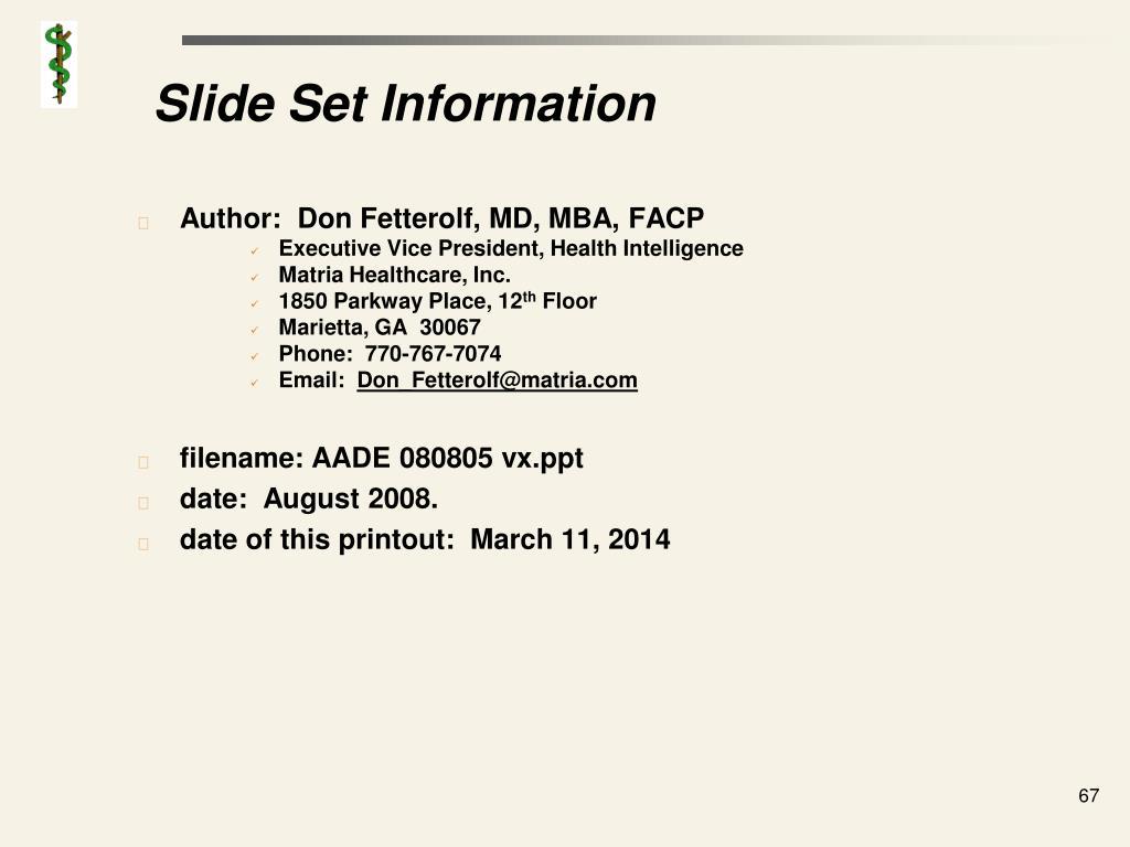 Slide Set Information