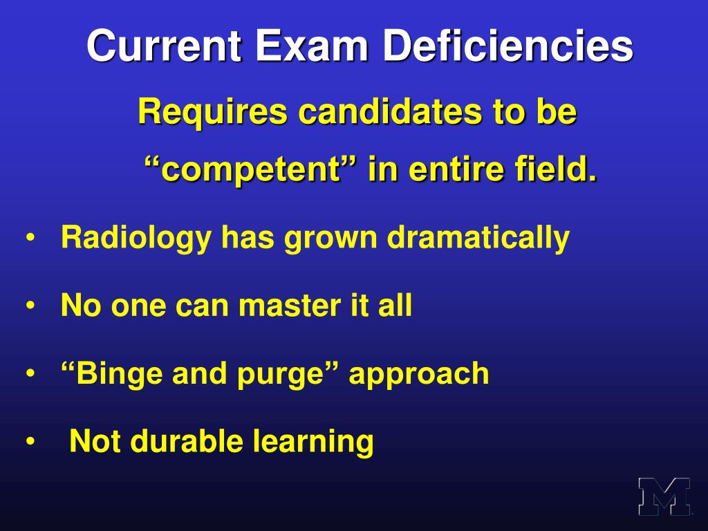 Current Exam Deficiencies