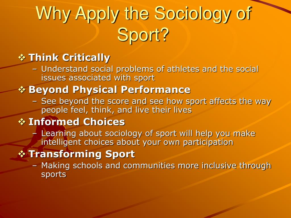 sociology of sports Sports television programs, dedicated sport channels, sports pages and sport supplements in newspapers, specialist sport magazines,  sport and sociology.
