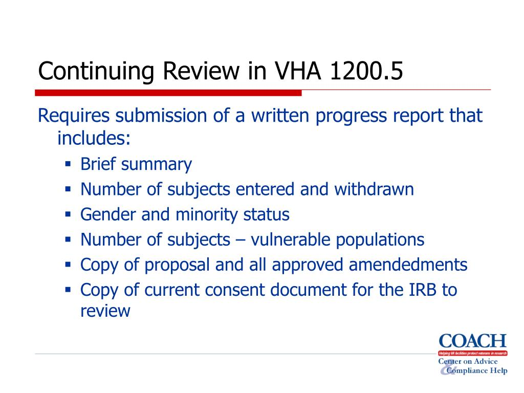 Continuing Review in VHA 1200.5