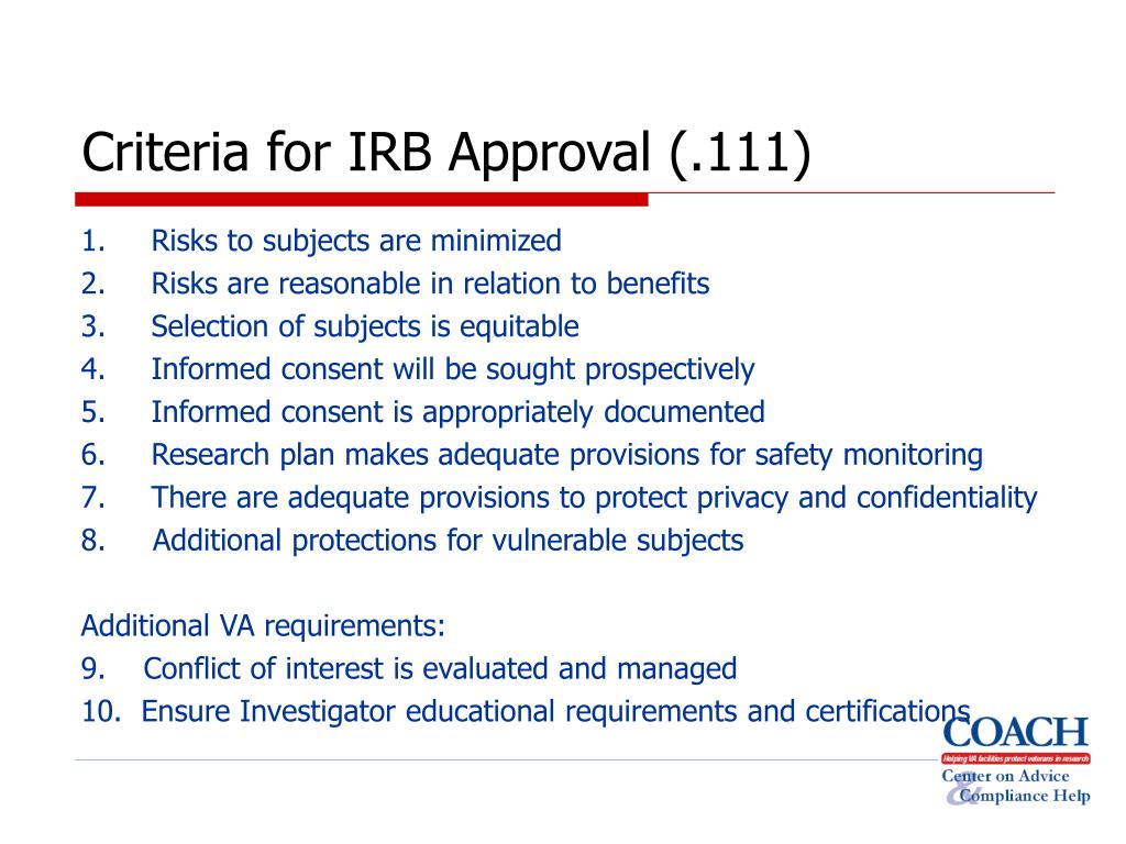 Criteria for IRB Approval (.111)