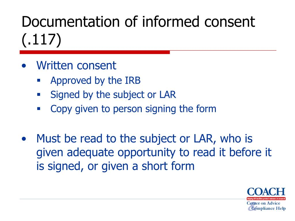 Documentation of informed consent (.117)