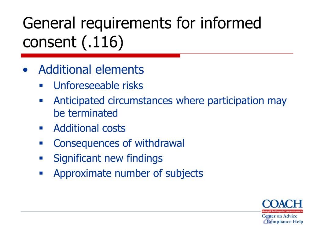 General requirements for informed consent (.116)