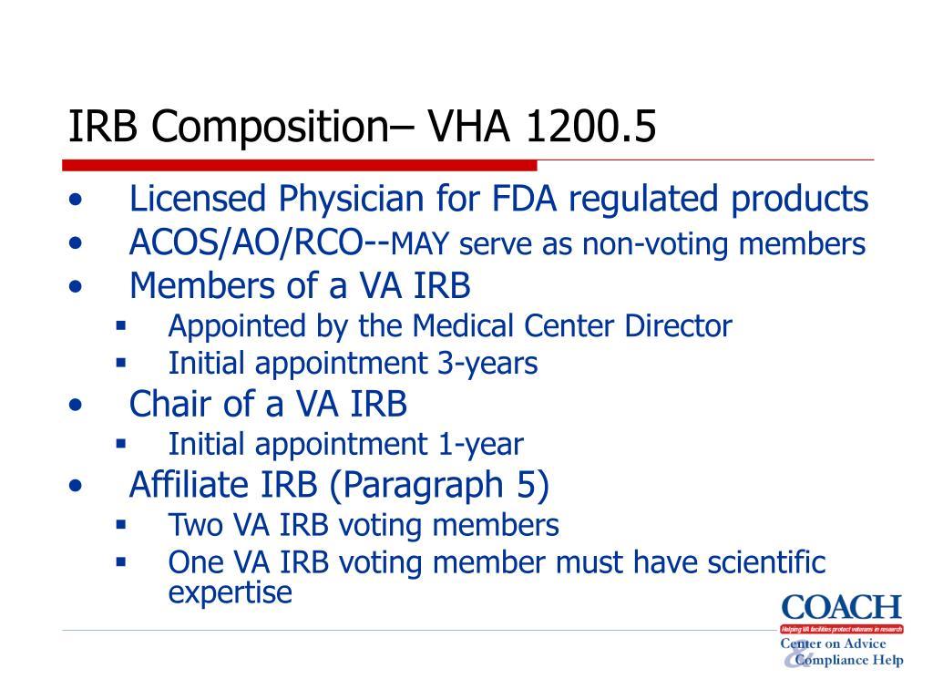 IRB Composition– VHA 1200.5